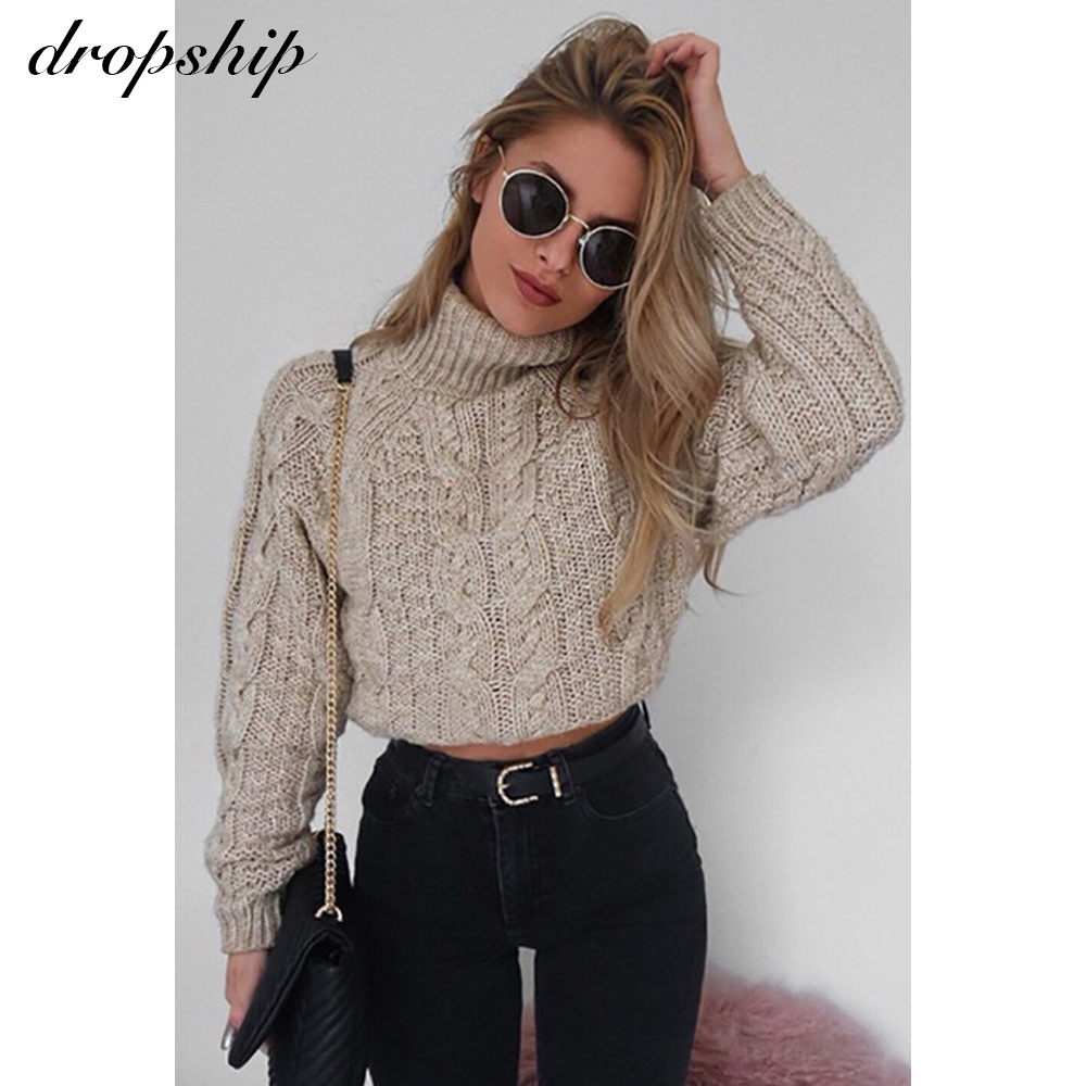 Sexy Crop Knitted Sweater Women Jumper Winter 2019 Pullover Fashion Knit Streetwear Loose Black Casual Christmas Sweaters Female