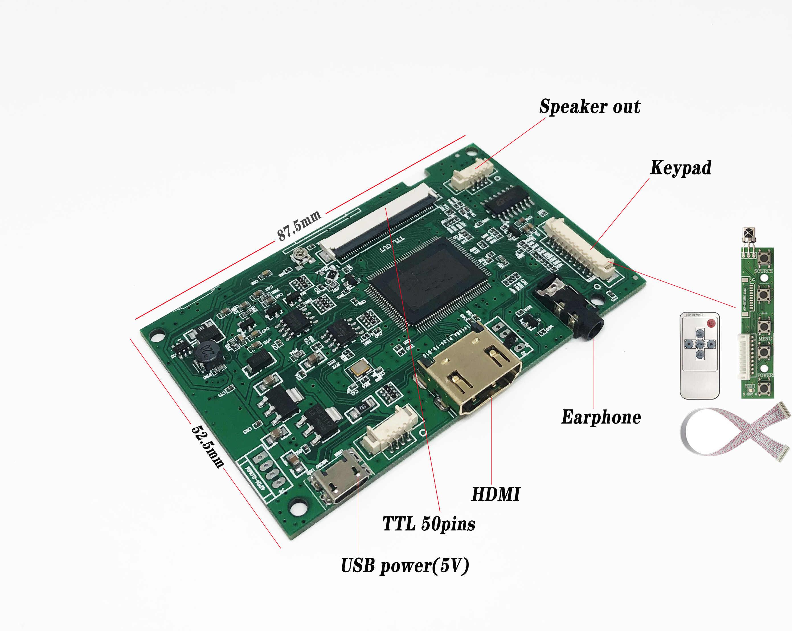 لوحة للقيادة LCD جهاز تحكم بالشاشة HDMI ل Innolux AT070TN90 AT090TN10 AT070TN93 AT080TN52 المصغّر USB 50 دبابيس مع GT911 اللمس