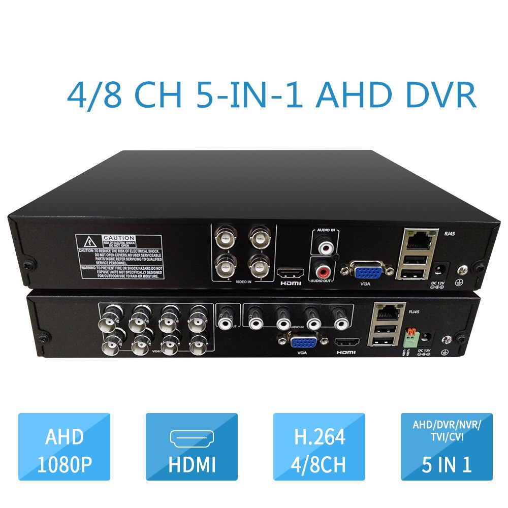 4 Channel 8 Channel AHD DVR Surveillance Security CCTV Recorder DVR 1080N HD Hybrid DVR For Analog AHD IP