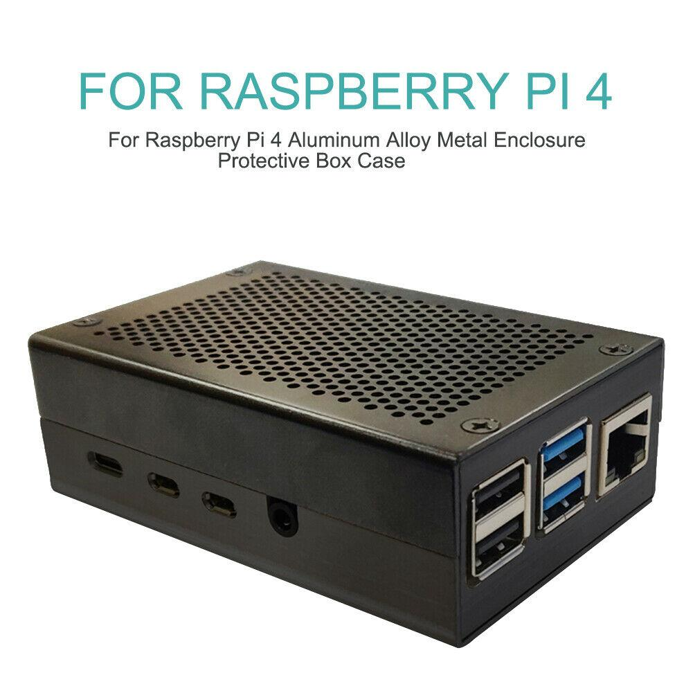 EastVita Raspberry Pi 4 Aluminum Case Black Shell Silver Box Metal Enclosure For RPI 4 Model B R20