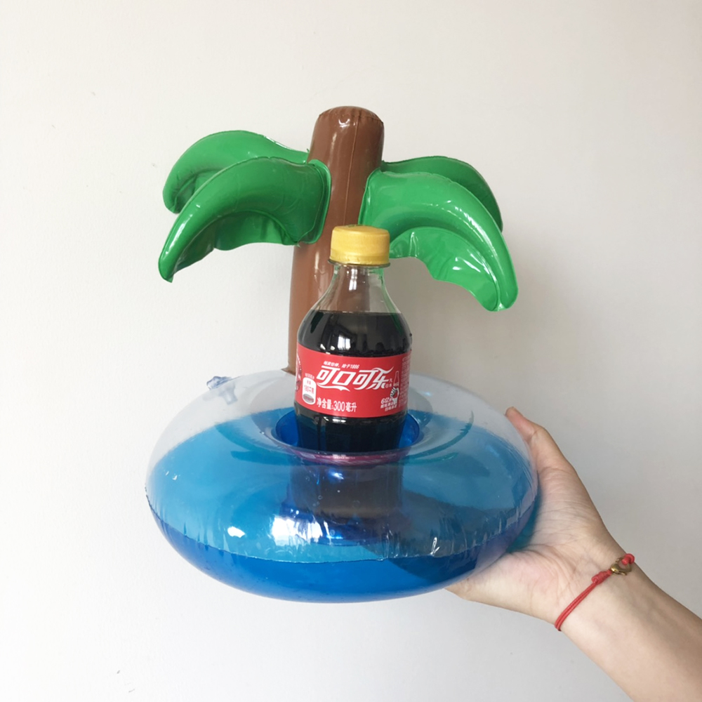 Mini Coconut Tree Cherry Shape Inflatable Water Swimming Pool Drink Cup Stand Holder Float Toy Coasters For Beverage Beer Bottle