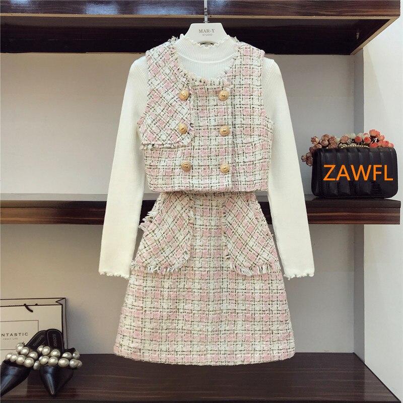 Small Fragrance Clothes Set Girls Skirts Suit Women Autumn Winter 3 Piece Sets Tweed Vest + Sweater + High Skirt Vestidos