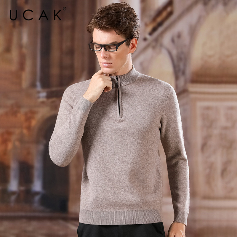 UCAK Brand Pure Merino Wool Sweater Men 2020 Fashion Trend Zipper O-Neck Casual New Arrival Pull Homme Sweaters Pullovers U3169