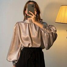 Satin Blouse Long Lantern Sleeve Office Chic Ladies Shirt Wh
