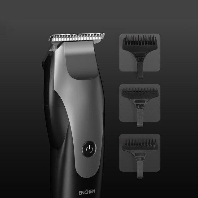 تعزيز ENCHEN مقص الشعر الكهربائية 10 واط عالية الطاقة التدرج شكل USB شحن الشعر المتقلب مع 3 فراشي شعر أسود