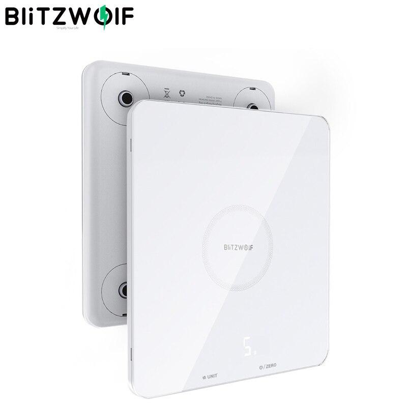 Blitzwolf balança de cozinha com display led, BW SC4 dc4.5v, 1g, vidro temperado de alta precisão, + abs, unidade múltipla, balanças de cozinha|Controle remoto inteligente| - AliExpress