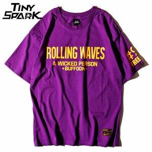 Image 2 - סגול T חולצה היפ הופ מתגלגל גל אננס הדפסת חולצת טי גברים 100 כותנה חולצה Harajuku 2018 קיץ עירוני בגדי חולצות tees