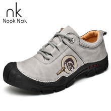Man Genuine Leather Casual Shoes Thick Bottom Non-slip Sports Shoes High Quality Outdoor Sole Protection Men Hiking Shoes men stylish outdoor anti slip leather sports casual shoes