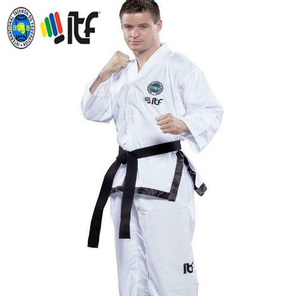 2020 Ultralight White ITF Taekwondo assistant instructor Doboks Adult Embroidery Uniform Martial Arts Kimono for 1-3 Dan Gi