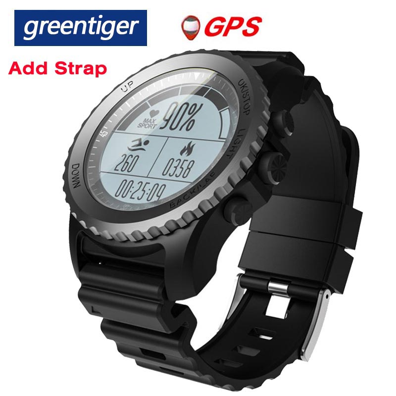Greentiger S968 GPS スマート腕時計 IP68 防水心拍数モニタースポーツ腕時計歩数計水泳男性屋外スマートウォッチ  グループ上の 家電製品 からの スマートウォッチ の中 1