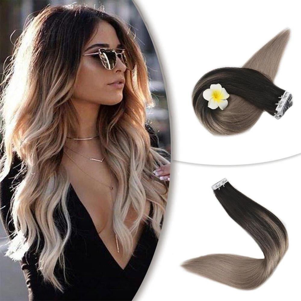 Full Shine 40 Pieces Balayage Tape In Hair Extensions #1B Fading To #18 Ash Blonde Remy Human Hair Colored Extensions 100g 40Pcs