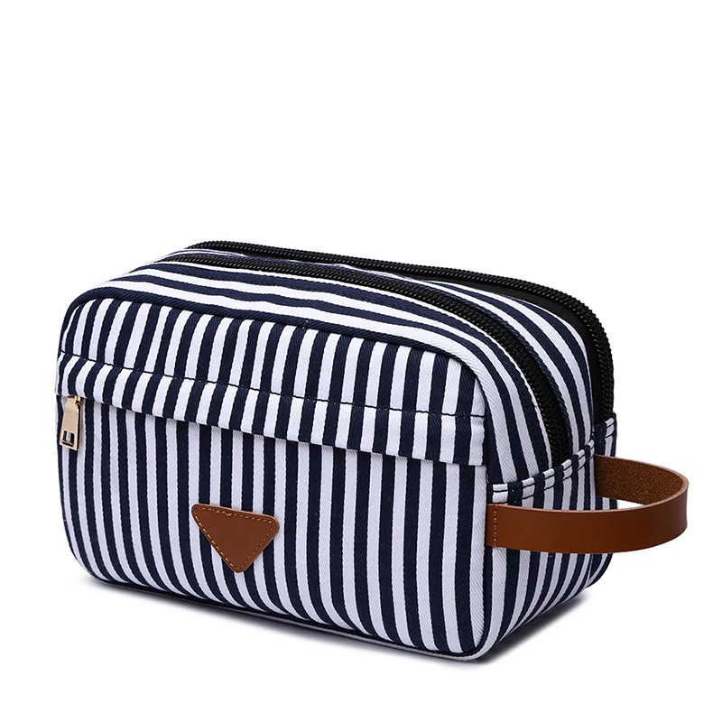Blue Striped Canvas Cosmetic Bag With Leather Decoration New Fashion Travel Men Toiletry Organizer Women Toilet Makeup Bag