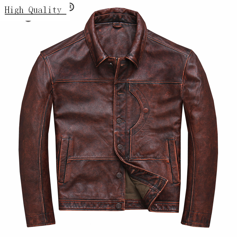 Winter Autumn Genuine Leather Jacket Men Streetweaar Real Sheepskin Coat Man Moto Biker Vintage Cow Leather Jackets U-YYD