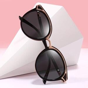 Image 1 - PARZIN Occhiali Da Sole Retrò Delle Donne di Golden Rim Moda Elegante Signore di modo Rotondo Occhiali Da Sole Polarizzati Eyewear Del Progettista di Lusso GafaDe Sol