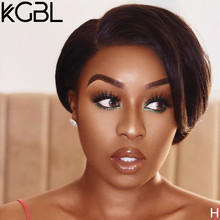 KGBL 13*4 Pixie Cut Natural Color Lace Front Human Hair Wigs 8 inches 150% 180% Density With Baby Hair Brazilian Non-Remy Medium(China)