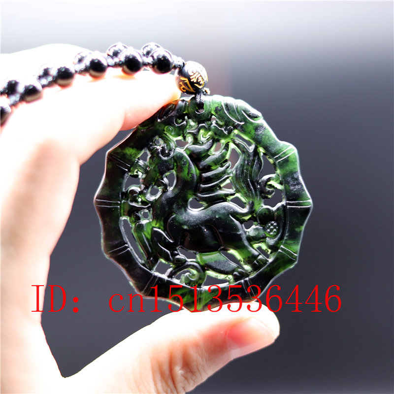 Chinese Black Green Jade Fly Horse  Jade Pendant Natural Obsidian Necklace Charm Jewellery Fashion Amulet Gift Men Women