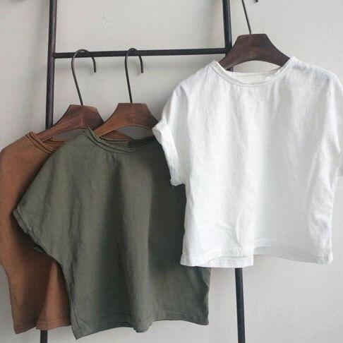 Criança menino t-shirts casual coreano cor sólida tshirt para menina crianças roupas verão 2020 criança camisas 2 3 4 5 6 anos crianças t