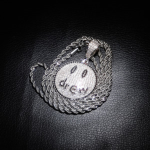 Image 3 - TOPGRILLZ Justin Bieber Drew Smiling Face Necklace Pendant With Tennis Chain Gold Silver Color Cubic Zircon Mens Hip Hop Jewelry