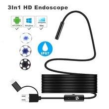 7mm 3 in 1 micro USB TYPE C PC computer endoskop kamera industrie rohr IP67 wasserdichte kamera 1 m 1,5 m 2m kabel länge