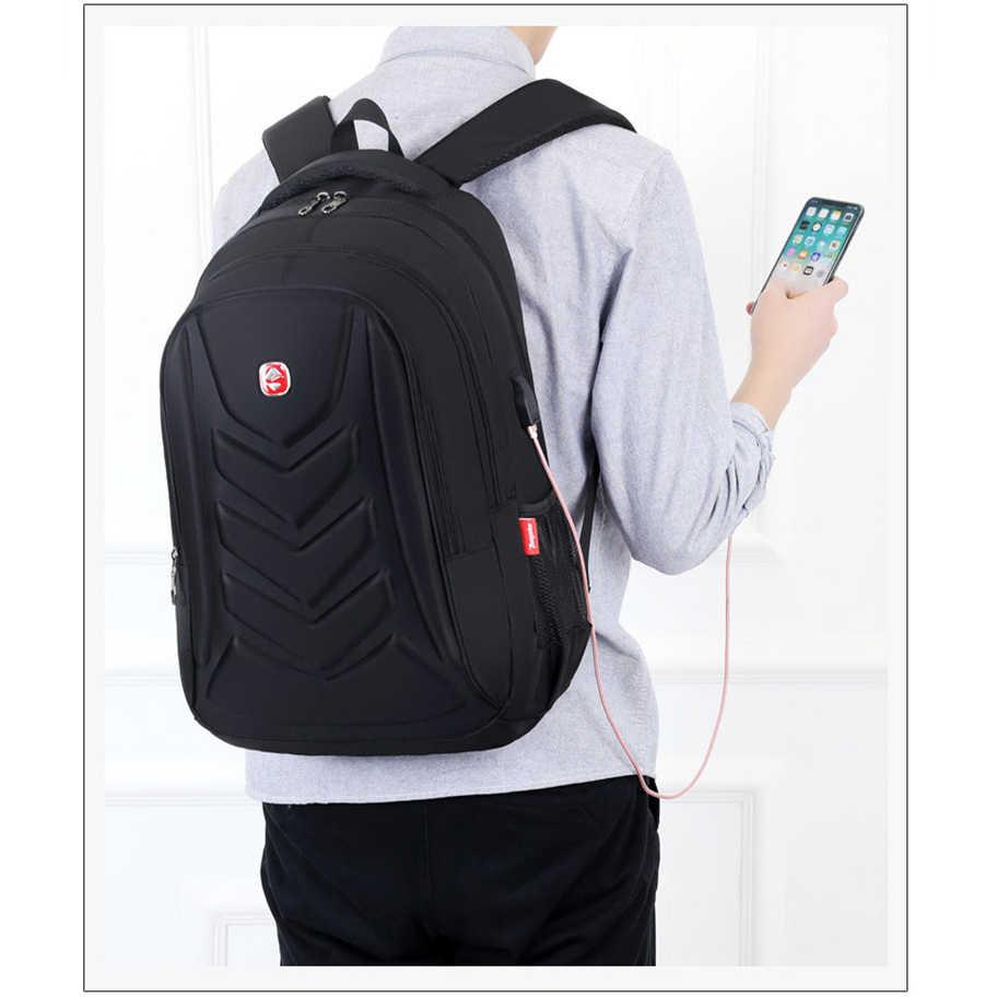 "Swiss EVA Protect shell 15.6/"" Laptop Backpack USB Charge Port Travel School Bag"