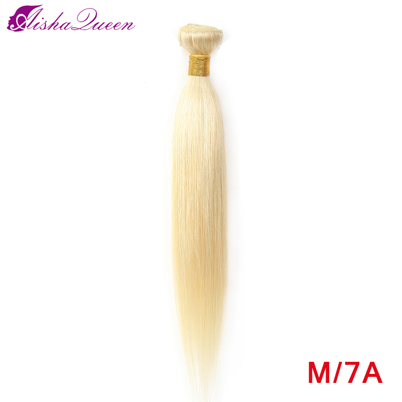 Aisha Queen 613 Blonde Straight Hair Bundles Peruvian Medium Ratio Non-Remy Human Hair Extension Honey Blonde Bundles 8-28 Inch