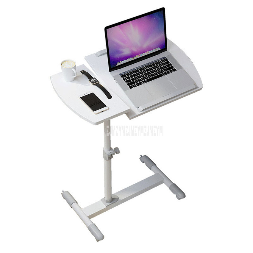 Simple Design Laptop Table Wood Desktop Rotatable Height Adjustable Bed Side Laptop Desk Table Notebook Stand Tray Steel Frame