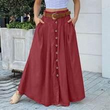 ZANZEA – Jupe longue à taille haute pour femmes, élégante, couleur unie, boutons, fête, 5XL, 7, printemps