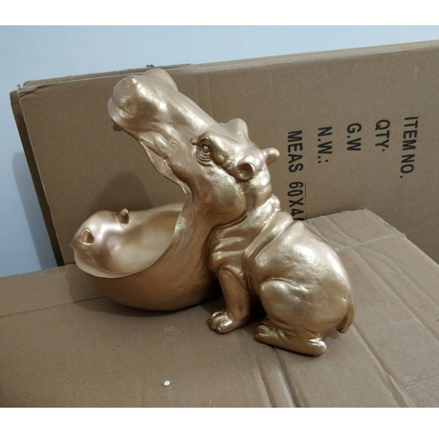 [MGT] Hippopotamus statue decoration resin artware sculpture statue decor home decoration accessories 6