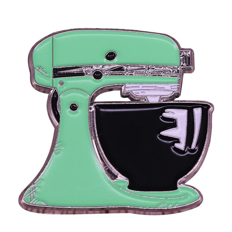 Мятно-зеленый кухонный миксер значок Ретро кухонный прибор брошь приготовления выпечки подарки Коллекционная игра