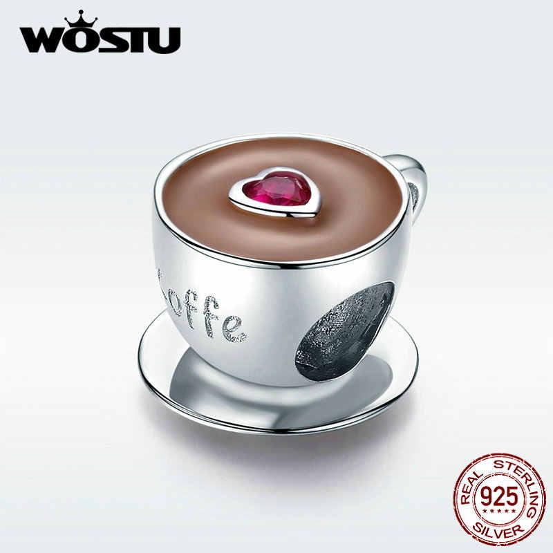WOSTU มาใหม่ 100% จริง 925 เงินสเตอร์ลิงน่ารักกาแฟลูกปัดจี้เดิม Charms สร้อยข้อมือเครื่องประดับ FIC1286