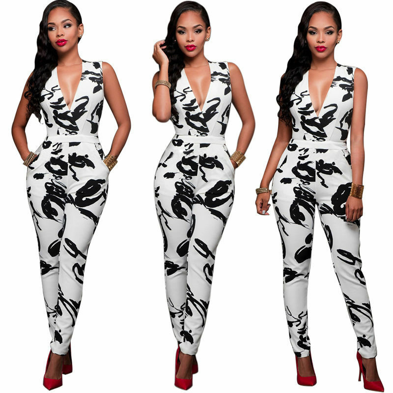 Goocheer New Fashion Women Clubwear Playsuit Sleeveless Bodycon Party Jumpsuit V-neck Clothes Romper Trousers