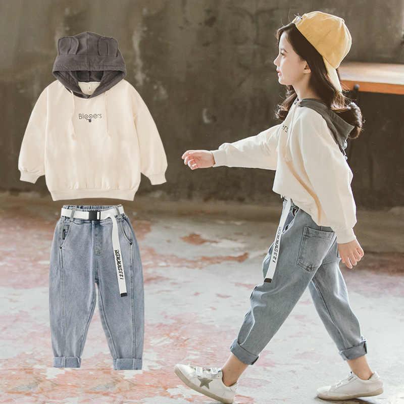 봄 2020 어린이 소녀 의류 세트 후드 티셔츠 & 느슨한 청바지 바지 10 12 Y 2Pcs 정장 십대 Tracksuits 어린이 의류
