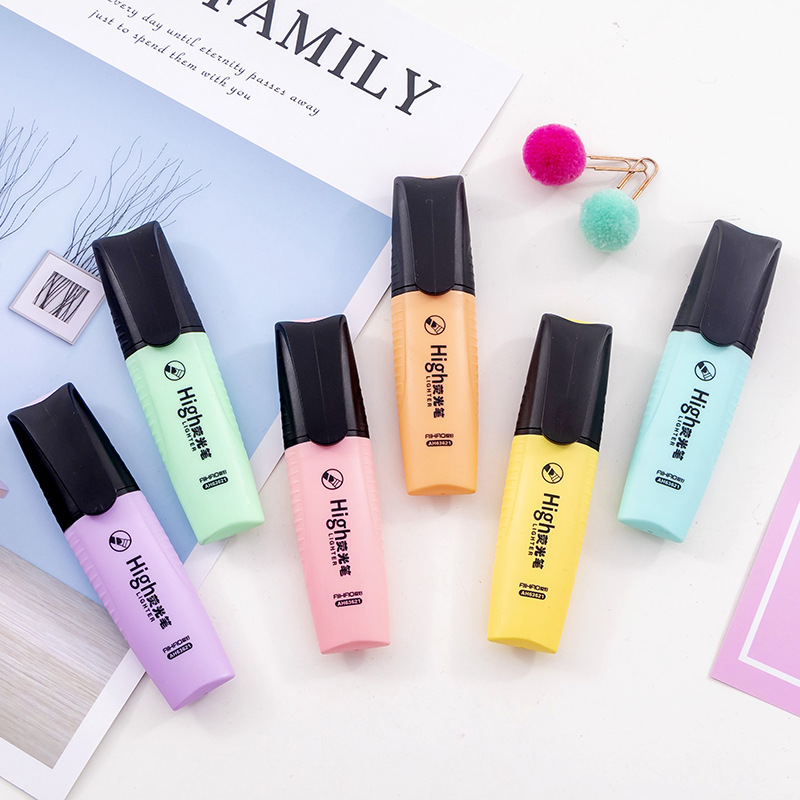 Macaroon Color Mini Colorful Candy Color Highlighters Promotional Art Markers Fluorescent Pen Gift Stationery