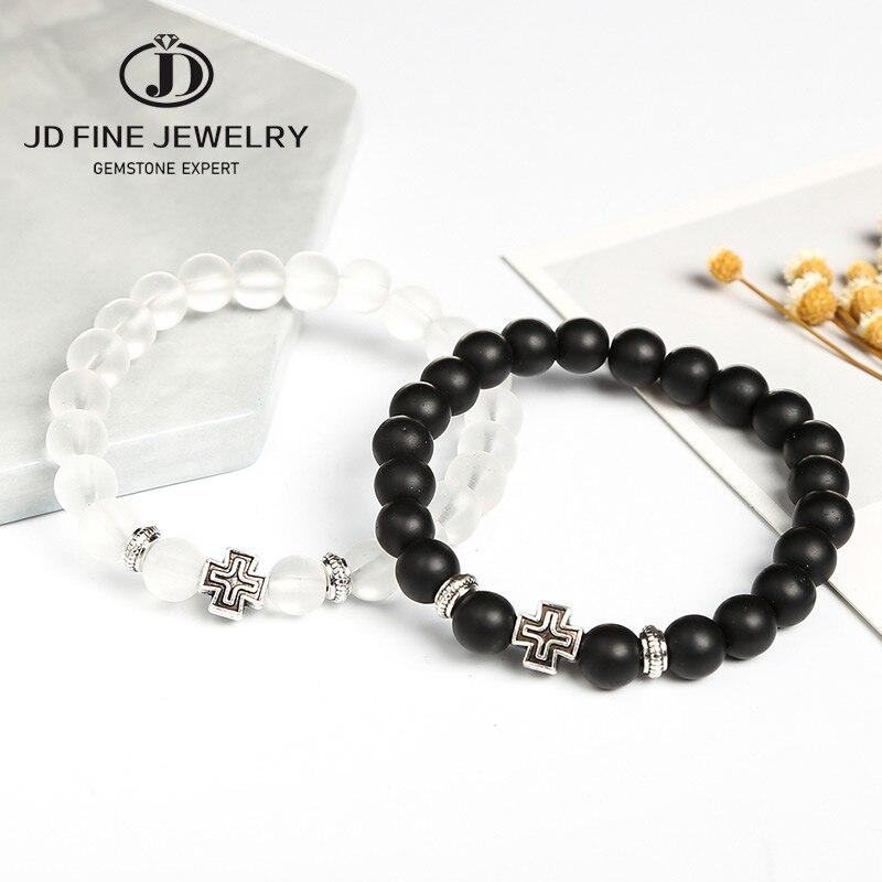 JD Charm Synthetic Stone Bracelet Cross Black Smooth Round Beaded  Bracelets Handmade Men Women Prayer Fitness Chain Couple GiftHologram  Bracelets