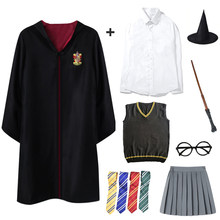 Halloween Slytherin Cosplay Costume Robe Cloak Clothing Kids Children Tie Scarf Wand Magic Party Accessories Cosplay Clothes