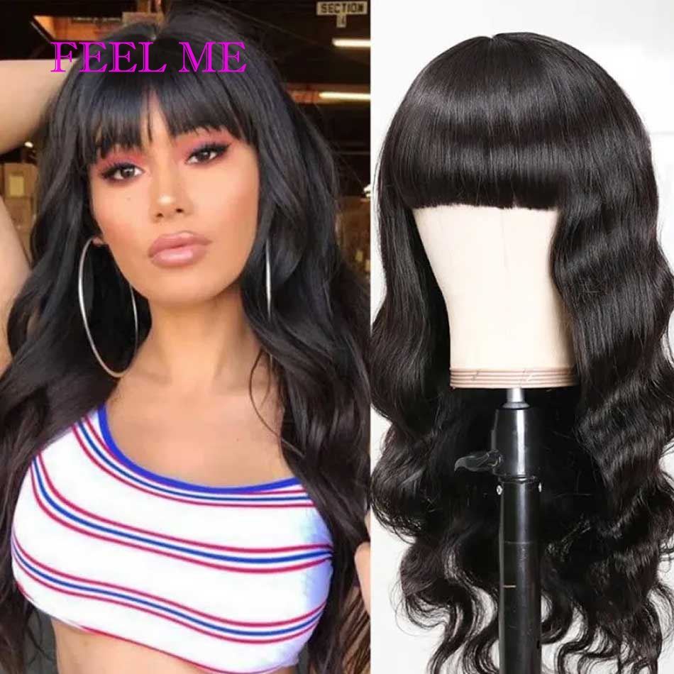 FEELME Human Hair Wigs With Bangs For Black Women Natural Color Brazilian Body Wave Hair Wigs With Bangs Full Machine Made Wigs