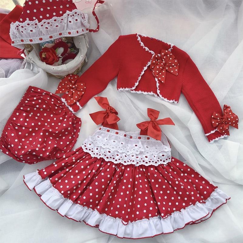 2019Autumn New Kids Clothes Dress+panty+hat+coat 4pcs Set Girls Christmas Red Dress Children Wedding Festivals Party Clothes