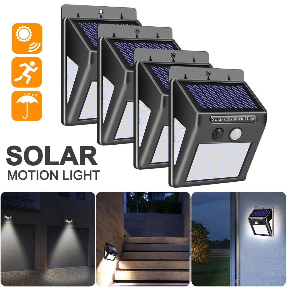 30/40/140 LED Solar Power Lamp PIR Motion Sensor 1/2/4pcs Solar Garden Light Outdoor Waterproof Energy Saving Wall Security Lamp
