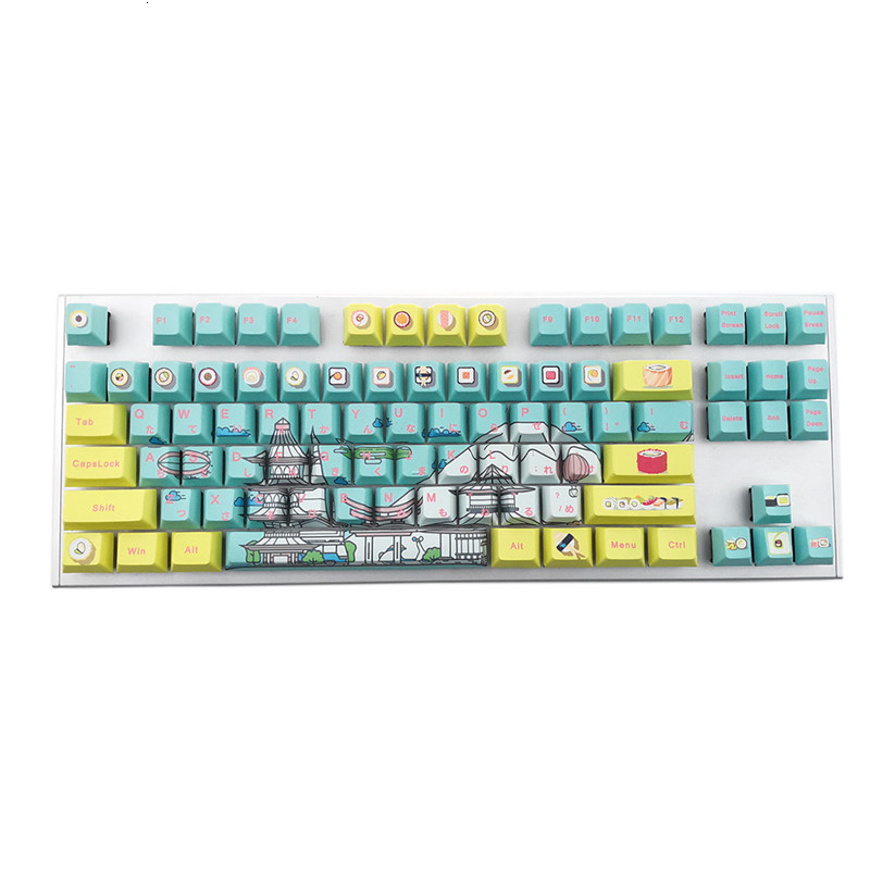 Cherry Profile Sushi Theme Keycap Five Sides Dye Sub Pbt 108 Key For Mechanical Keyboard Pink Japanese Root Printing Yellow Blue