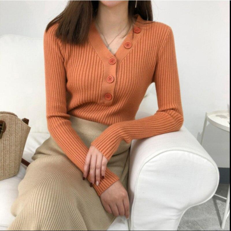 Осень 2020 новый сплошной карамельный цвет v образным вырезом