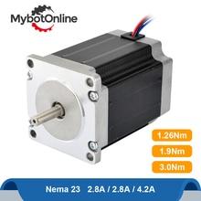 Nema 23 шагового двигателя 1.26Nm/1.9Nm/3Nm 2 Фаза Гибридный 2.8A/4.2A мотор Nema23 шаговый мотор 4-свинец для лазерная гравировка фрезерный станок с ЧПУ