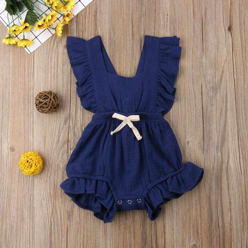 2019 Nieuwe Mooie Baby Meisjes Ruche Effen Kleur Romper Jumpsuit Outfits Sunsuit voor Pasgeboren Baby Kleding Kid Kleding
