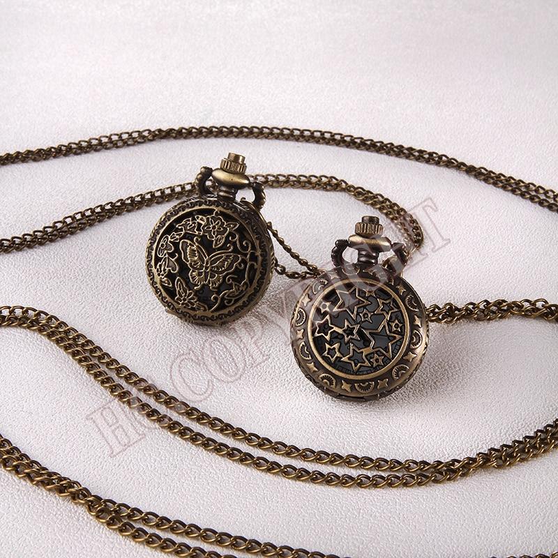 2 Style Women Men Pocket Pendant Quartz Watch Retro Bronze Butterfly/Star Cover Fob Chain Quartz Pocket Watch Clock