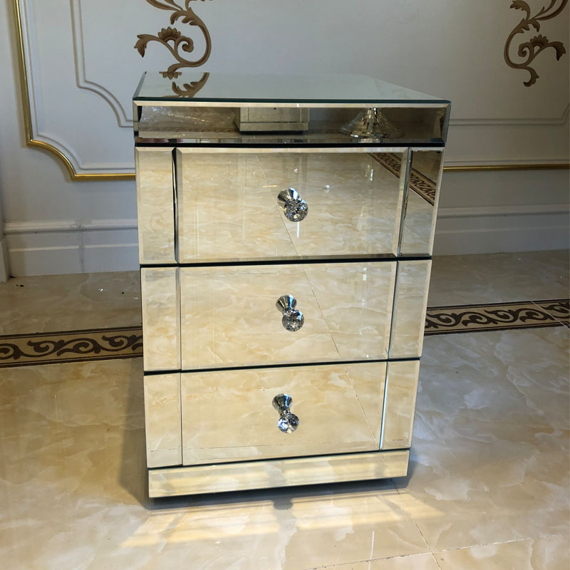 Panana Mirrored Bedside Cabinet/Bedside Table/Chest Of 3 Drawers Bedroom Furniture Fast Delivery