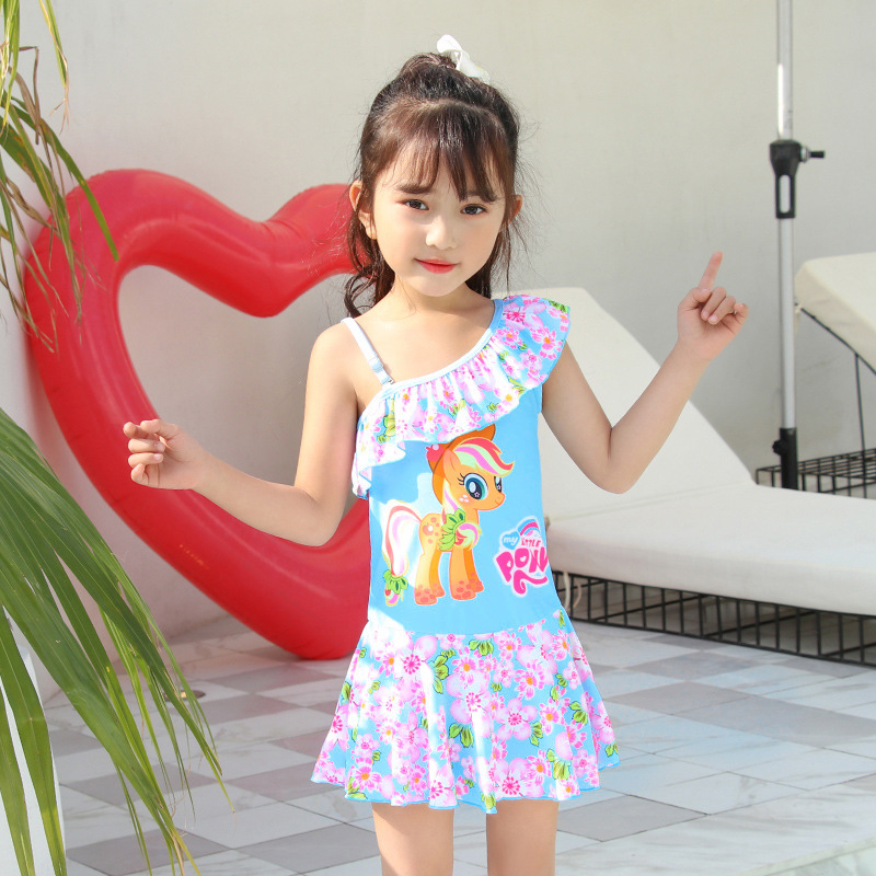 2019 Europe And America New Style Hot Sales KID'S Swimwear One-Shoulder Flounced Dress-Cartoon Floral-Print GIRL'S Swimsuit