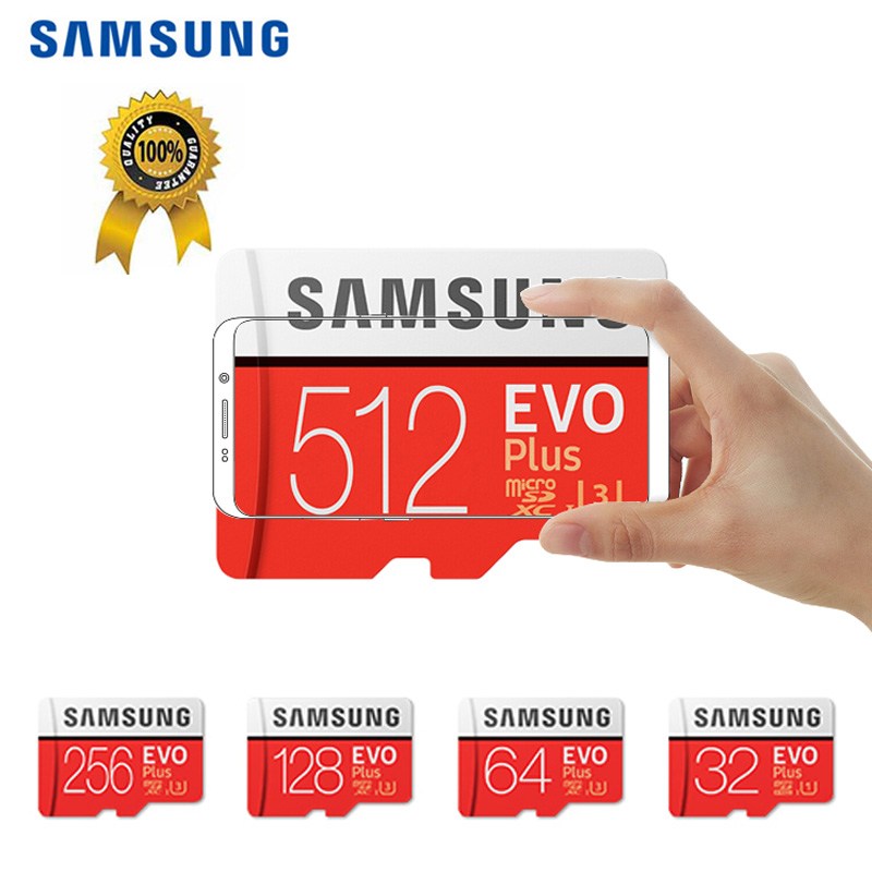 100% Original SAMSUNG EVO Plus MicroSD Card 512GB 256GB Tarjeta Micro SD Memory Flash Card 128GB For Galaxy Xiaomi HUAWEI Phone