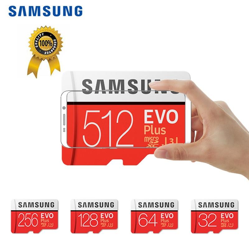 100% Original SAMSUNG EVO Plus MicroSD Card 512GB 256GB Tarjeta Micro SD Memory Flash Card 128GB For Galaxy Xiaomi HUAWEI Phone
