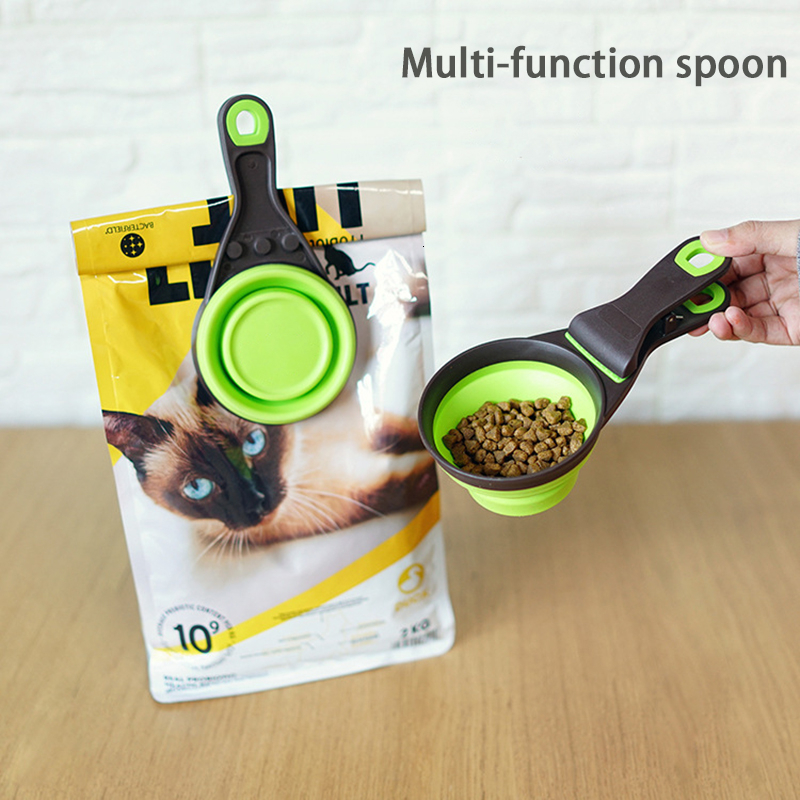 Multifunctional Folding Silicone Dog Bowl Feeder Portable Pet Food Container Measuring Cup Spoon Dogs Feed Storage Tool