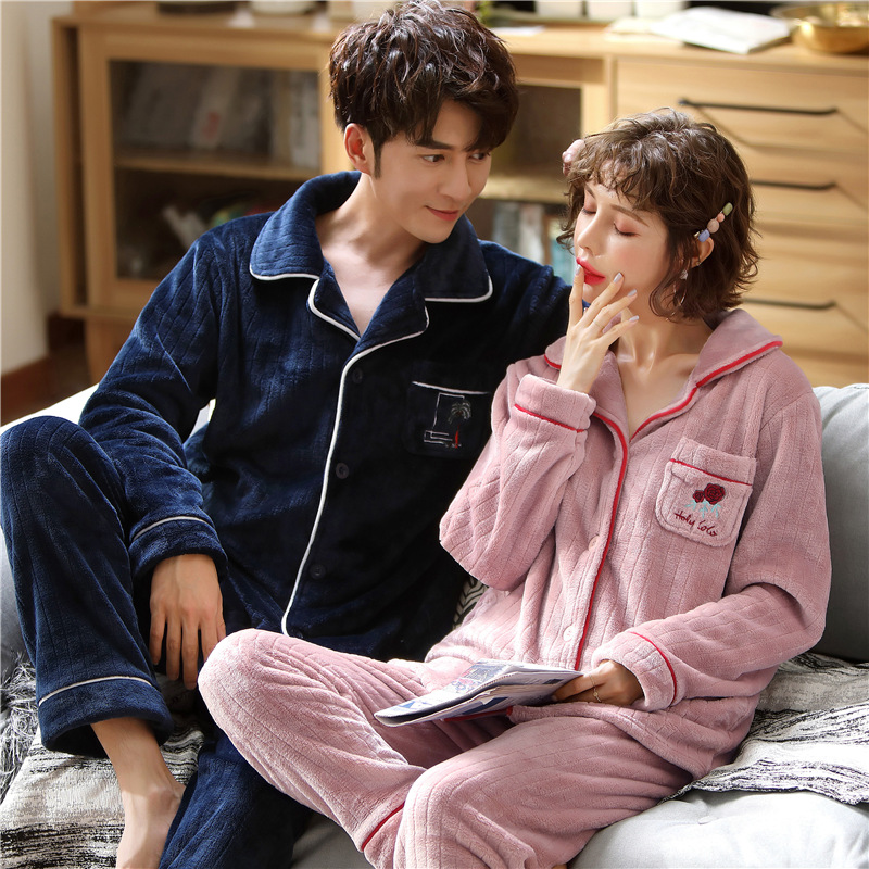 Pajamas Men Nightwear Cardigan Sleepwear Couple Homme Winter Warm Women Soft MSJ02 Coral-Fleece title=