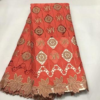 High Quality African Water Soluble Lace Fabric With Rhinestones  Nigerian Guipure Fabric For Wedding 5 yards/lot